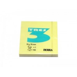 Notes Samoprzylepny Tres 75x75mm Żółty