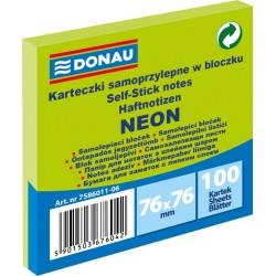 Notes Samoprzylepny Donau 76x76mm Neon Zielony 100 kartek