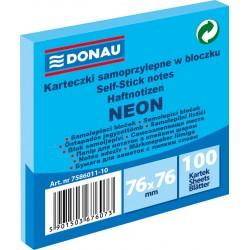 Notes Samoprzylepny Donau 76x76mm Neon Niebieski 100 kartek