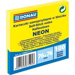Notes Samoprzylepny Donau 76x76mm Neon Żółty 100 kartek