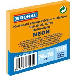 Notes Samoprzylepny Donau 76x76mm Neon Pomarańczowy 100 kartek