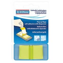 Zakładki indeksujące 25x45mm DONAU transparentne żółte