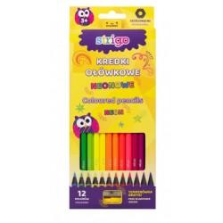 Kredki 12 kolorów Strigo SSC117 Neonowe